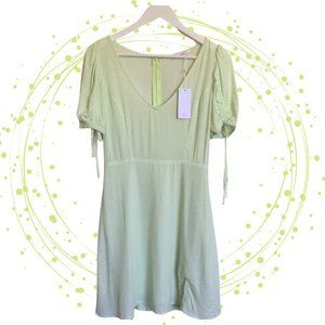 NWT SUPRE teadress in pastel green ruched sleeves